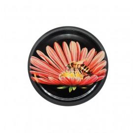 Capac 63mm - Crizantema pe negru