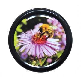 Capac 82mm - Floare mov pe negru